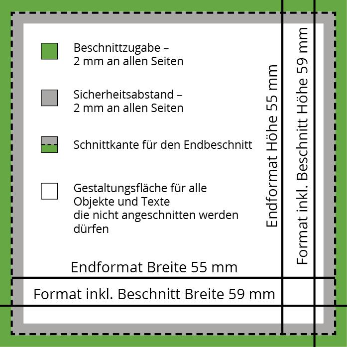 Visitenkarten Quadratisch 55 X 55 Mm