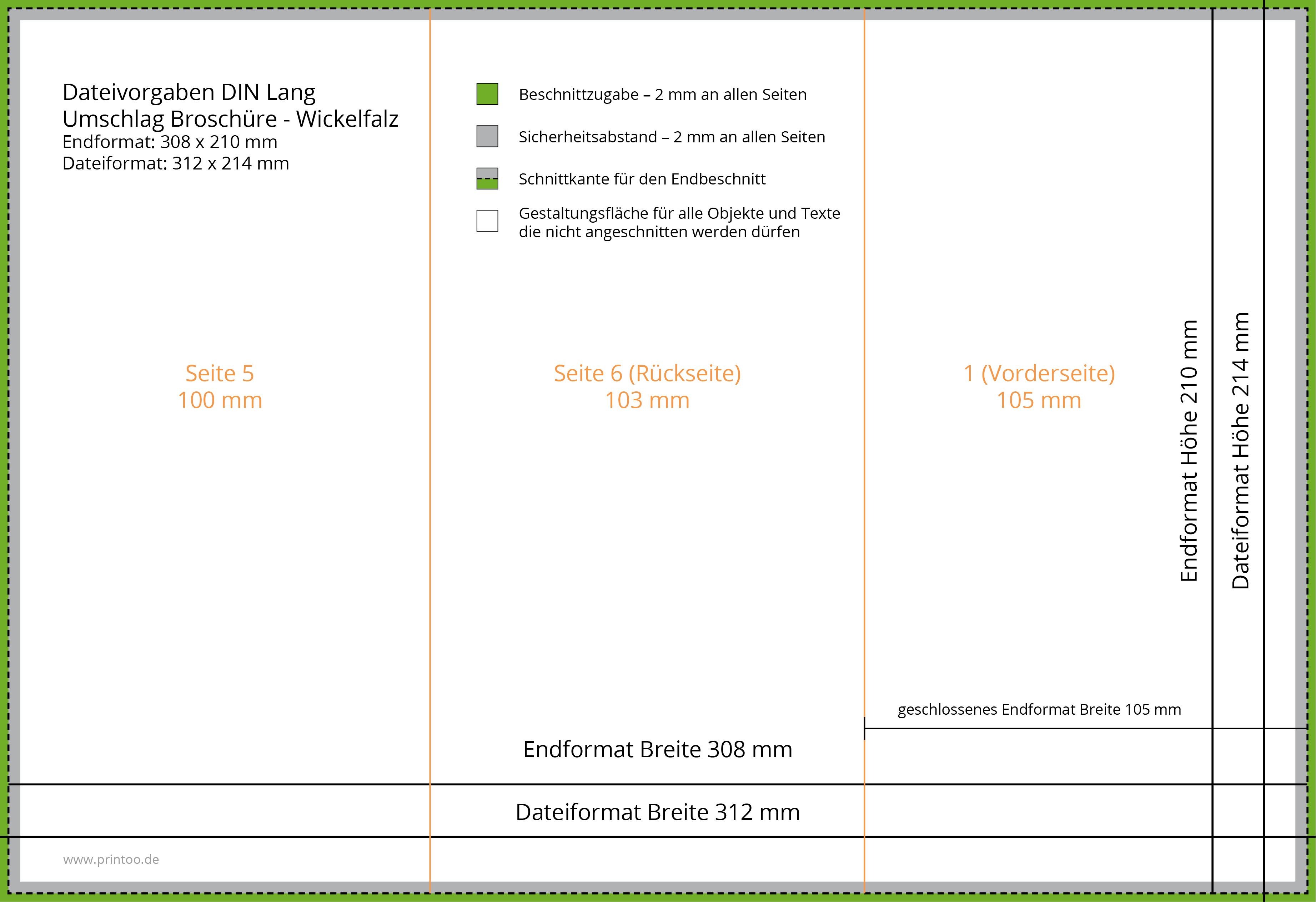 Broschüre DIN lang hoch, 8 Seiten + Umschlag